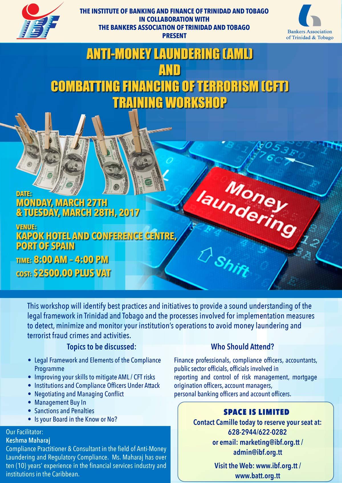 Anti Money Laundering Cft Training Workshop The Institute Of